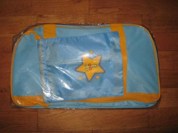 Ново синьо сакче за количка+торбичка и шише