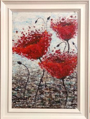 "Tablou /Pictura ""Vibratii""-Maci rosii, 28/37cm, unicat, impresionist"
