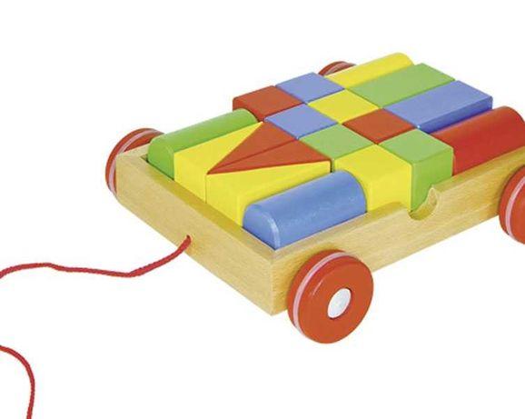 НОВ! Goki дървен конструктор с количка за дърпане