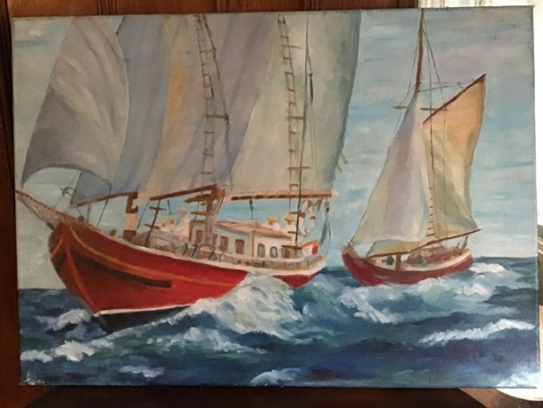 Tablou peisaj Maritim cu doua barci pictat pe panza 50x70