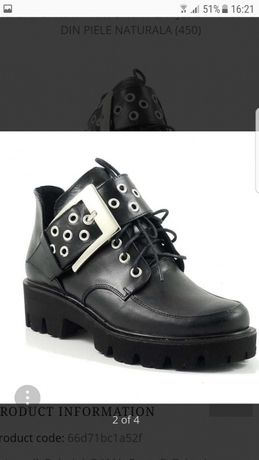 Pantofi tip bocanc din piele naturala