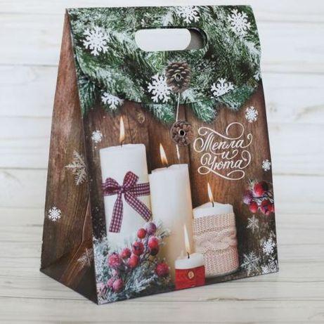 Пакет подарочный с клапаном 18х10х23 новогодний для подарков