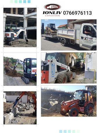 Inchiriere utilaje constructii Sibiu Miniexcavator, bobcat, transport