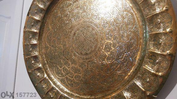 старинна бронзова чиния-тава ,закупена от испания