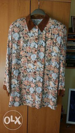 Дамска риза 100 процента памук цветен принт с велурена яка и маншети.