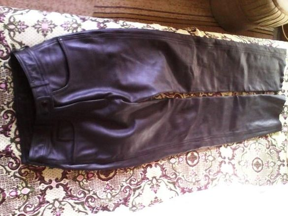 Дамски кожен панталон 40 размер - като нов, телешки бокс