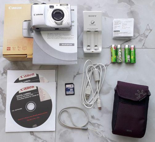 Фотоапарат Canon 12.1 MP, пълен комплект + аксесоари