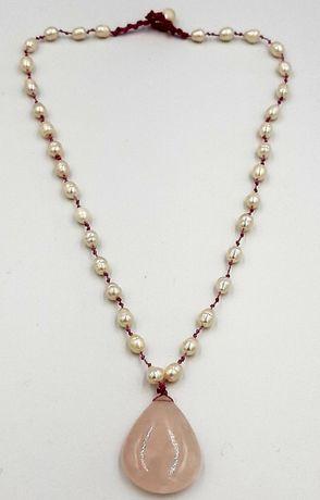 Colier vintage handmade quartz roz si perle de cultura