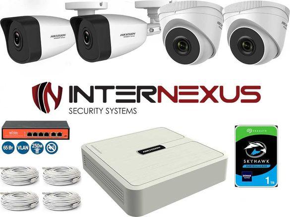 4 Mpx Комбинирана IP Система за Видеонаблюдение с 4-и Камери