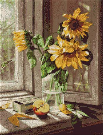 Kit Goblen cu Diagrame color Top Goblen Florile soarelui la fereastra