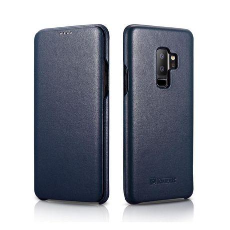 Husa SAMSUNG S9 PLUS, piele naturala iCARER Luxury, negru, albastru