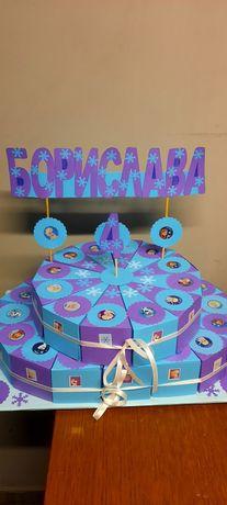 Картонена торта банери надписи украси за рожден ден кръщене бал юбилей