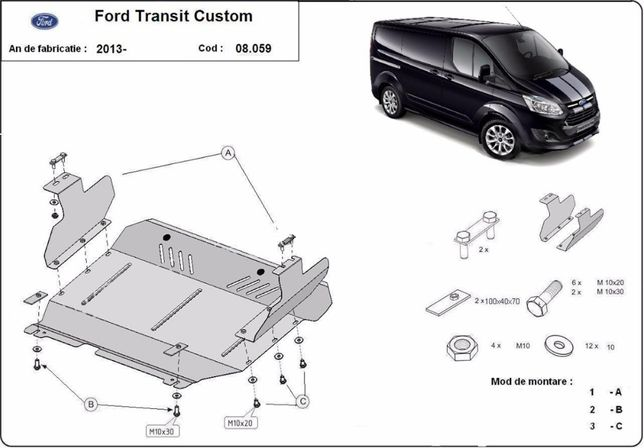 Scut motor metalic pentru Ford Transit 2001-prezent - otel 2mm