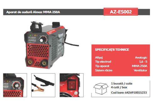 Aparat de Sudura ALMAZ MMA 250A ( AZ-ES002 ) Invertor Model 2021 Garan