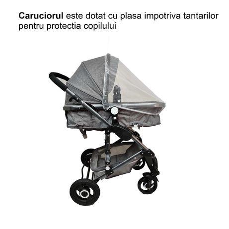 Carucior 3 in 1, dubla suspensie, reglabil, parasolar, gri - BabyCrew