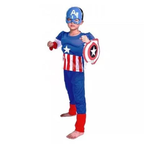 Детски Костюм на Капитан Америка с мускули,Captain Amerika costume