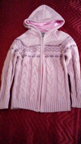 Розова жилетка с цип и качулка за момиче, цена 7 лв.