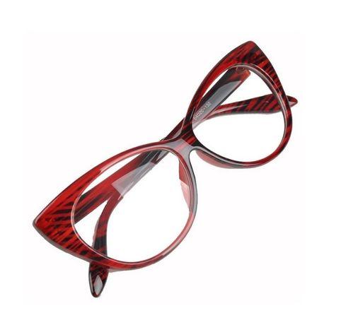 Ochelari de dama Cat Eye Eyes lentila transparenta, rame ROSII
