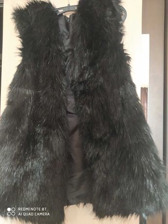 Мода Черен елек еко косъм