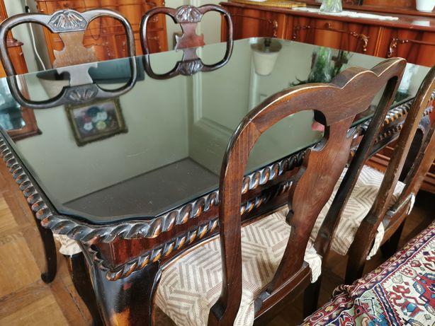 Masă sufragerie vintage, Ruxandra, lemn masiv, anii 1970 + 4 scaune
