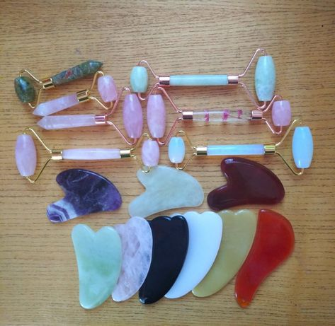 Лечебни масажори - ролери, Гуа ша нефрит, розов кварц, аметист. 8 март