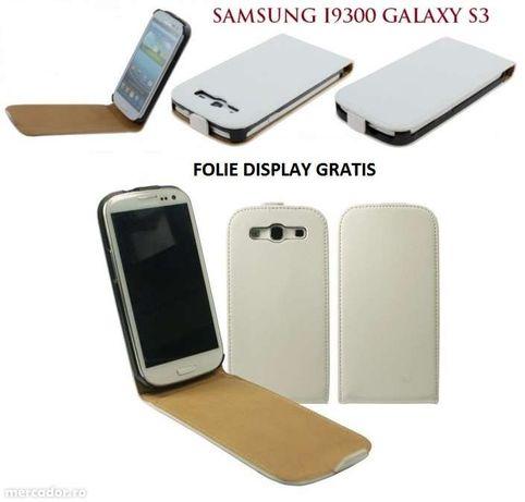 Husa Eleganta TOC PIELE FLIP ALB Samsung Galaxy S3 i9300 + Folie