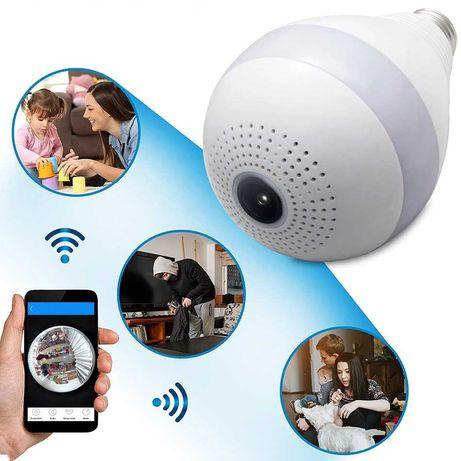 WIFI КАМЕРА КРУШКА, панорамна LED лампа, 360 градуса, Wi-Fi