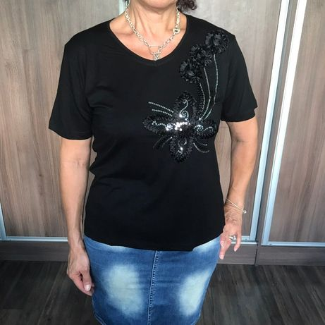 Нова дамска черна тениска с дантела и пайети