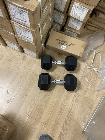 Gantere hexagonale fixe noi 2x15 kg=30 kg-15+15=30  kg profesionale