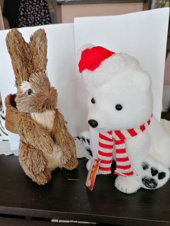 Ornamente animalute, 25 cm înălțime, urs si iepure