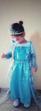 Rochie Rochita NOUA printesa Elsa Frozen cu trena 2, 3, 4, 5 ani