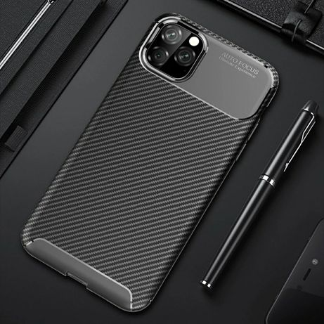 Iphone 11 - Husa din Silicon Negru Model Carbon