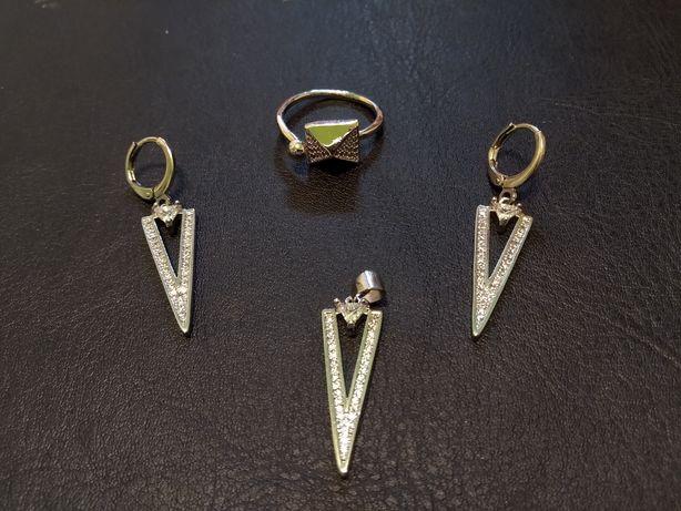 Set de bijuterii suflat cu argint 925 Inel reglabil