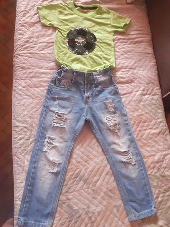 Лот накъсани дънки и тениска с пайети 4г размер 110