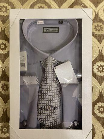 Новая мужская рубашка в полном комплекте. С гастуком и запонками.