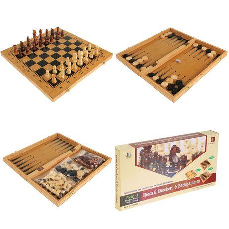 """Шахматы-шашки-нарды""  деревянный набор 3 в 1."