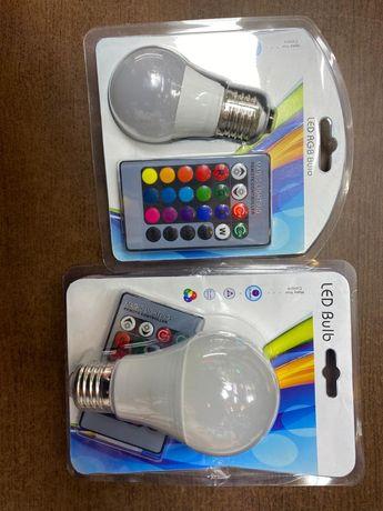 RGB светодиодная лампочка с пультом