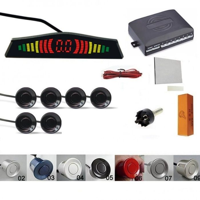 Senzori parcare display slim avertizare sonora fata spate 6 set kit Pitesti - imagine 1