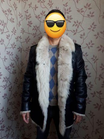 Зимняя куртка из натуральной кожи с мехом козы