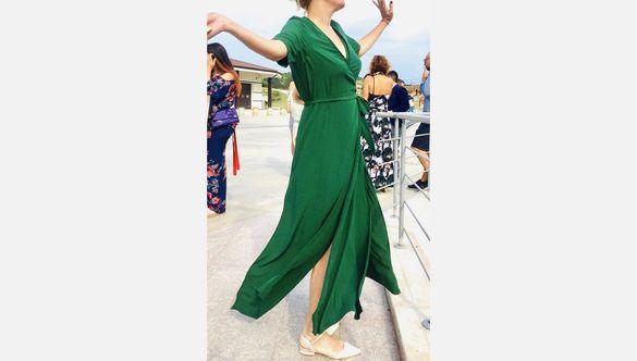 Зелена дълга рокля L, samsoe&samsoe