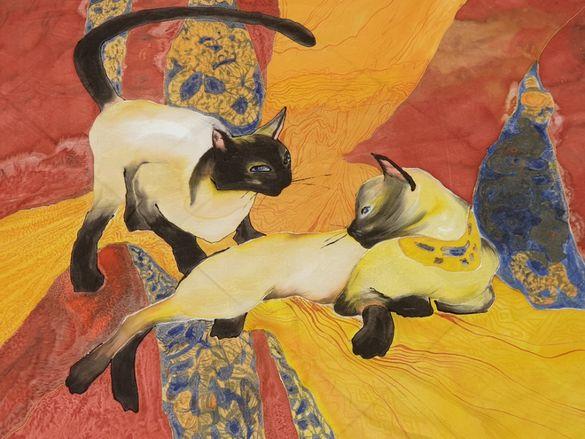 кърпичка, рисувана върху коприна със специални немски бои. Сиамски ко