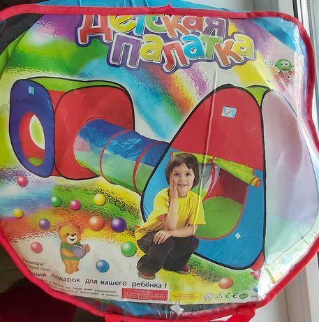 Детская палатка (два домика соединенных тоннелем)