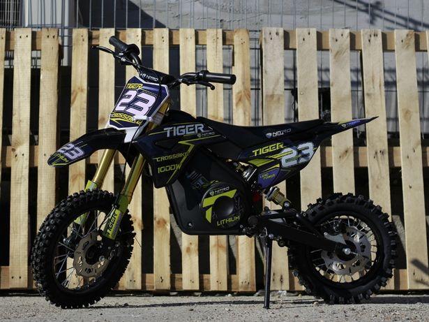Motocicleta electrica pentru copii Eco Tiger 1000W 36V 12/10 #Albastru