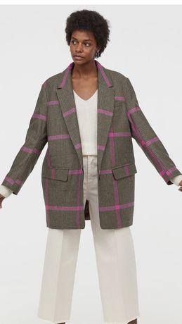 Sacou cadrilat din stofa de lâna H&M