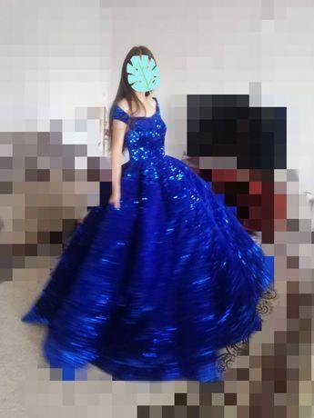 Шикарное пышное платье синего цвета. Продажа и прокат.42/44/46