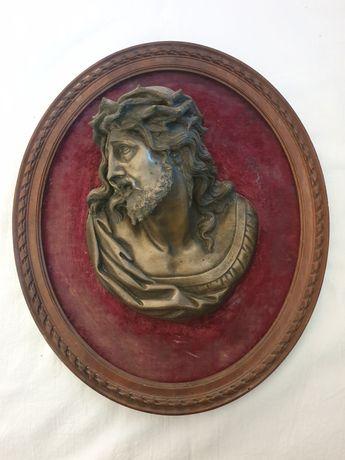 Aplica veche din lemn și bronz, Isus Hristos, secolul XVIII