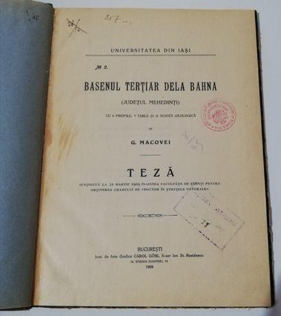 G Macovei Basenul terțiar de la Bahna Jud Mehedinți 1909 Teza Geologie