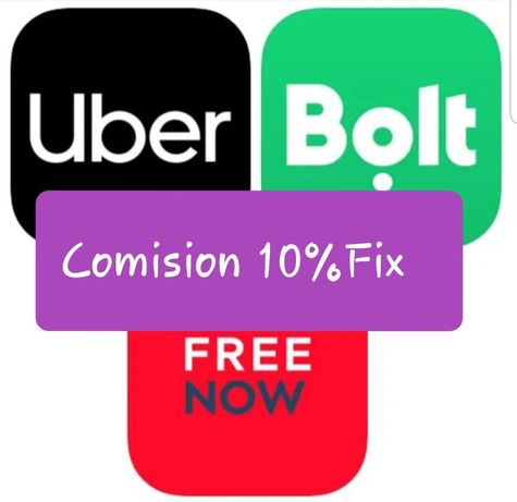Partener & Uber &Bolt & Free Now Comision 10%Fix