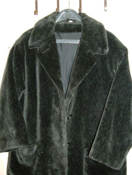 Дамско еко палто 3/4 черно и дамско дълго палто Астраган.