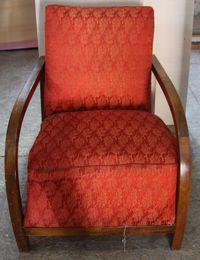 Fotoliu Vintage Stil ArtDeco; Fotoliu din lemn tapitat
